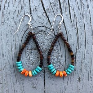 Boho Turquoise & Spiny Oyster Heishi Loop Earrings